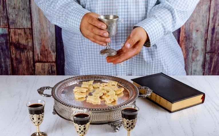 wine bread communion table