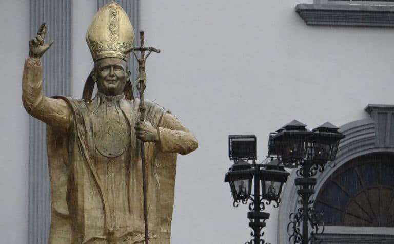 Roman Catholic pope statue