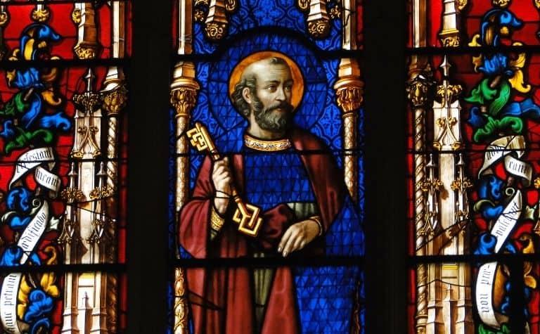 Catholic saint stained glass