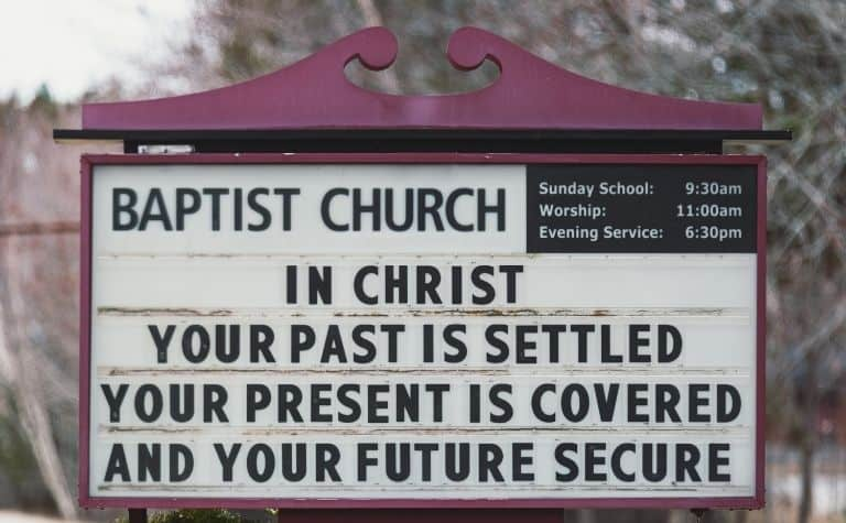Protestant church sign